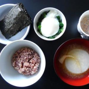 0303朝食:ニラのお浸し温玉のせ