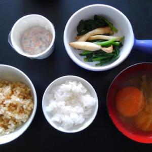 朝食:ホウレン草とエリンギのソテー和風