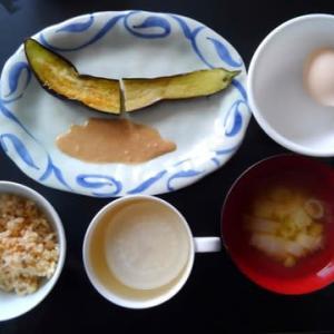 朝食:長ナスのソテー  ゴマ味噌ソースで
