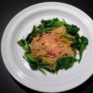 0307夕食:菜の花のタラコパスタ(玄米麺で)