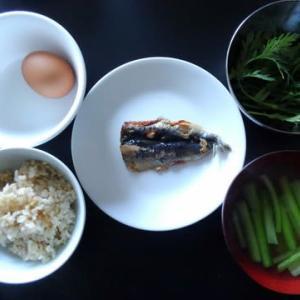 朝食:イワシの開きと春菊のサラダ