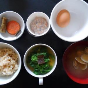 0308朝食:菜の花の超薄ダシ煮など