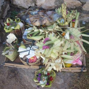 娘のバリヒンドゥー教生後210日のセレモニー at レンボンガン島
