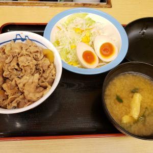 牛丼、味玉サラダ