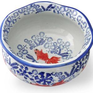 レトロな雰囲気の赤絵金魚鉢♪鉢カバーやお酒のクーラーに