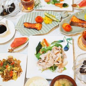 【和食】セラドン焼きを使ったおうちごはんのコーディネート(2日分の記録)/My Homemade Dinner/อาหารมื้อดึกที่ทำเอง