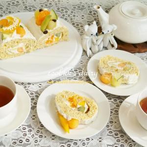 【スイーツ】メロンロールとフルーツロール/Melon Rolled Cake&Fruit Rolled Cake