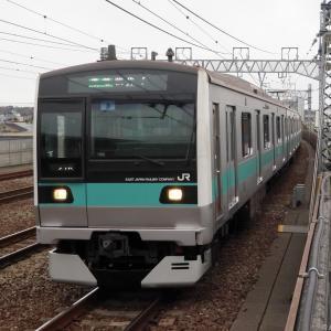 狛江駅に差し掛かるE233系2000番台