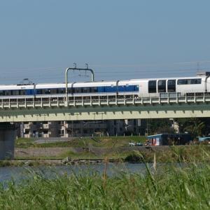 多摩川橋梁の371系特急「あさぎり」