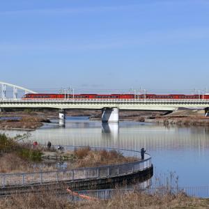 多摩川橋梁のロマンスカー GSE