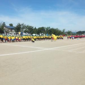 猛暑の中での八海中学校運動会