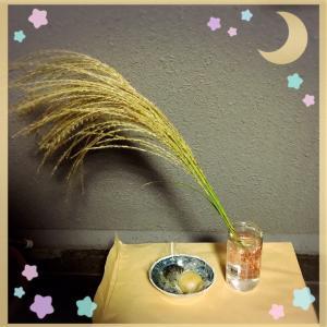 【中秋の名月】和菓子とススキをお供えしました(*´艸`)