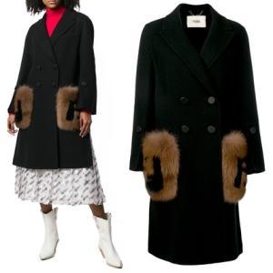 【今年の一着】FENDI フェンディ フォックスファーポケット ブラック ウール コート