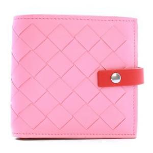 【日本未入荷】BOTTEGA VENETA イントレチャート フレンチウォレット コンパクト財布 ピンク