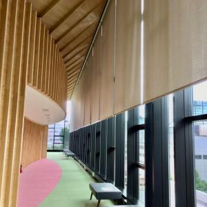 北海道議会新庁舎に入館 議場傍聴者ロビーの道産木材のデザインは一見の価値あり 旧庁舎は解体中