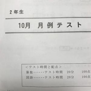 結果ー月例テスト(小2兄・2018年10月)