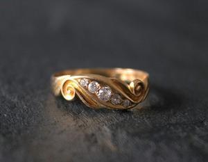英国 ヴィクトリアン1898年チェスターホールマーク ダイヤモンド 18金ゴールドリング16号 宝石鑑別書付