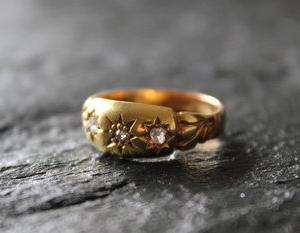 英国 エドワーディアン 推定1900年頃 スターセット ダイヤモンド 18金ゴールドジプシーリング12.5号