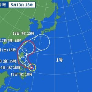 台風一号が発生した模様です