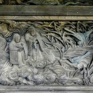 神社の彫刻【伊弉諾と伊弉冉の国生み】