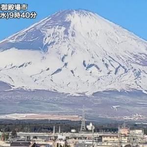 青空に映える富士山雪不足