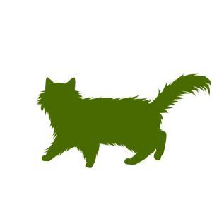 シルエット歩く猫6グリーン