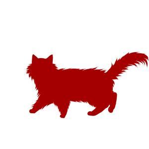 シルエット歩く猫6レッド