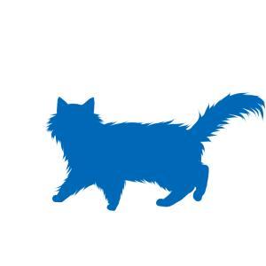 シルエット歩く猫6ブルー
