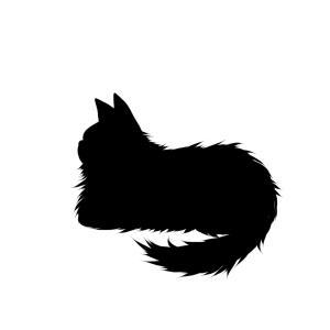 シルエット箱座り猫2ブラック