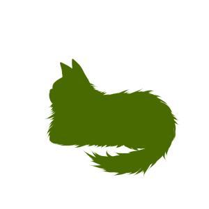 シルエット箱座り猫2グリーン