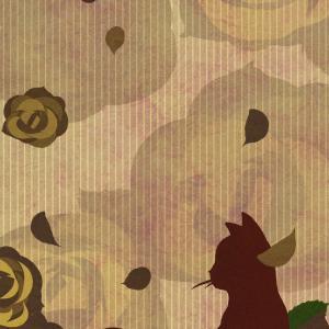 【スマホ用壁紙】たたずむ猫とバラの花セピア