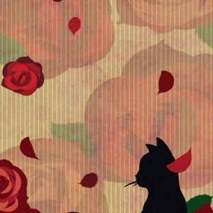 【スマホ用壁紙】たたずむ猫とバラの花レッド