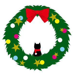 【クリスマス】黒猫とクリスマスリース