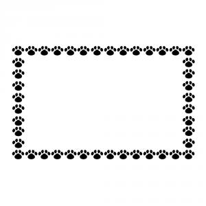 小さな肉球を並べた四角いフレーム素材