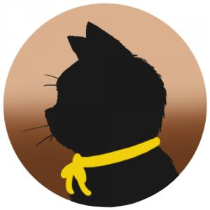 【プロフィール画像用】黒猫横顔シルエット(グラデーション)