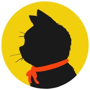 【プロフィール画像用】黒猫横顔シルエット(単色)