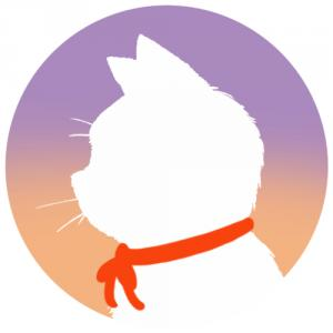 【プロフィール画像用】白猫横顔シルエット(グラデーション)