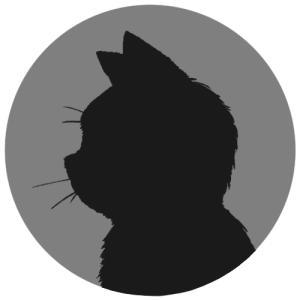 【プロフィール画像用】黒猫横顔シルエット首輪なしver.(単色)