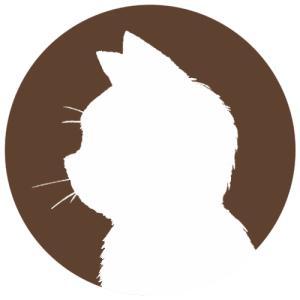 【プロフィール画像用】白猫横顔シルエット首輪なしver.(単色)