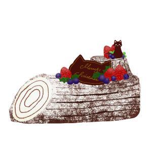 【クリスマスケーキ】猫のチョコプレートを飾ったブッシュドノエル