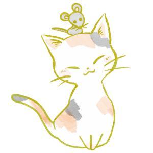 ねずみを頭に乗せた猫のイラスト