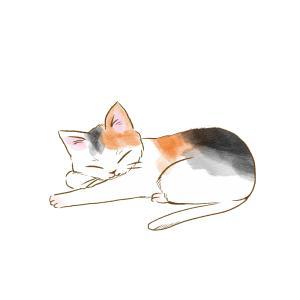 寝そべる猫のイラスト