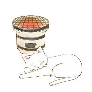 七輪で暖を取る猫のイラスト