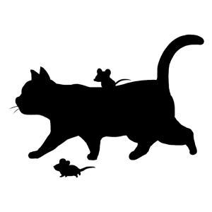 シルエット歩く猫とねずみ