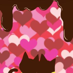 【スマホ用壁紙】ハート×チョコレートと寄り添う猫