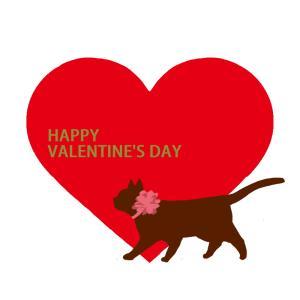 【バレンタインデー】大きなハートと歩く猫のシルエット
