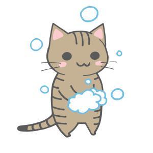 手を洗う猫のイラスト(全身)