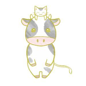 牛の頭に乗った猫のイラスト