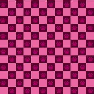 【スマホ用壁紙】市松模様と猫の肉球柄(ピンク)