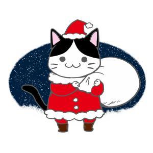 クリスマスプレゼント袋をかついだ猫サンタのイラスト